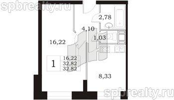 Планировка Однокомнатная квартира площадью 32.82 кв.м в ЖК «Девяткино»