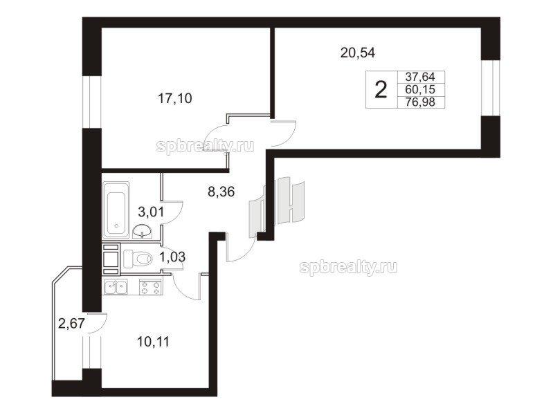 Планировка Двухкомнатная квартира площадью 77.6 кв.м в ЖК «Девяткино»