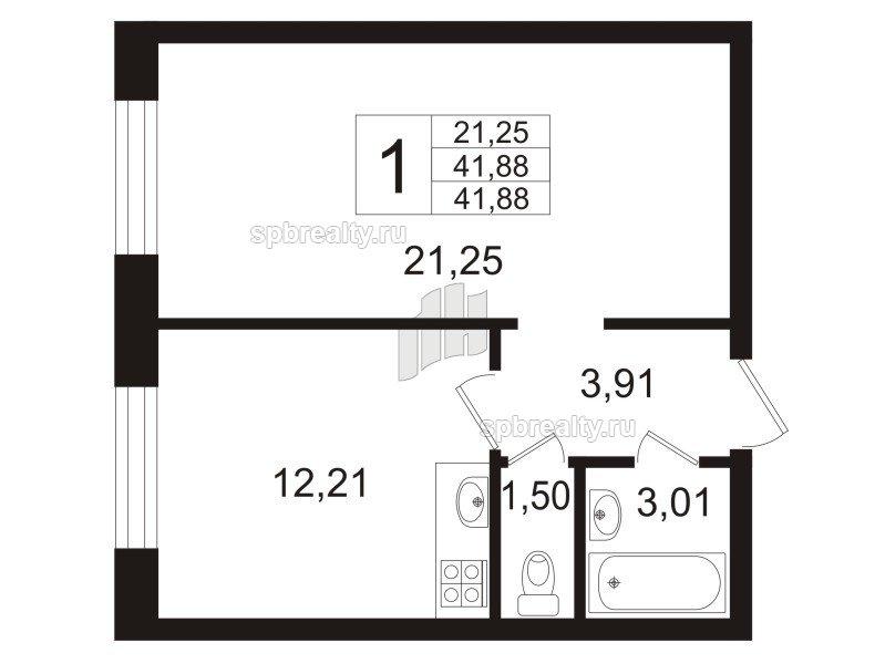 Планировка Однокомнатная квартира площадью 41.88 кв.м в ЖК «Девяткино»